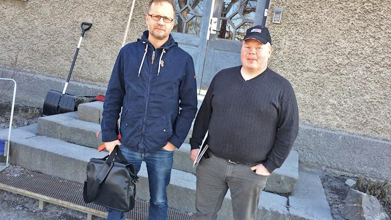 Mika Muhonen och Anders Söderman, IF Metall på Dannemora Mineral. Foto: Stefan Hesserud Persson/Sveriges Radio
