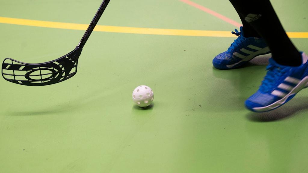 Innebandyspelare med klubba och boll (arkivbild). Foto: Fredrik Sandberg/TT