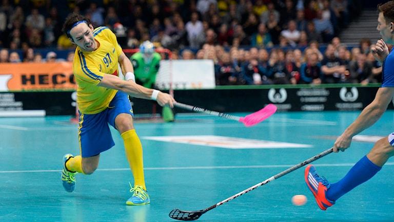 Innebandyspelaren Robin Nilsberth, här i landslagströja. Foto: Fanni Olin Dahl/TT