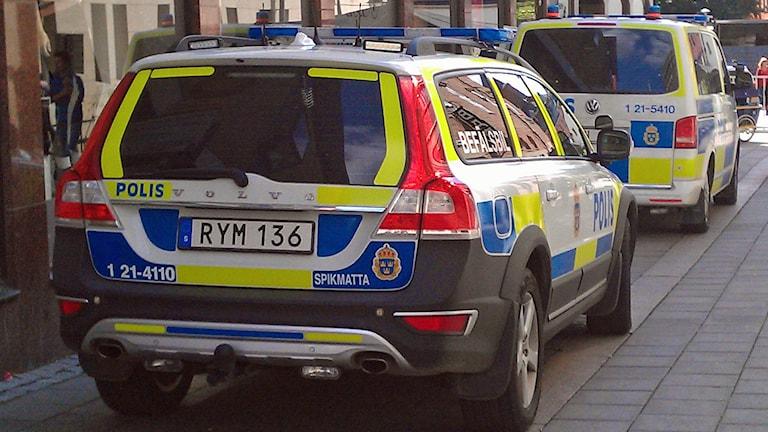 Polisbilar (arkivbild). Foto: August Bergkvist/Sveriges Radio