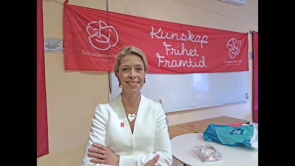 Socialförsäkringsminister Annika Strandhäll (s) höll sitt första majtal i Enköping.