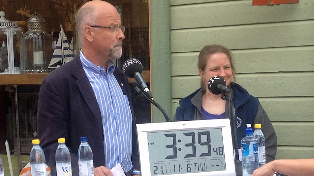 Jacob Spangenberg (C) och Kerstin Dreborg (MP) i debatt. Foto: Åsa Nylander/Sveriges Radio