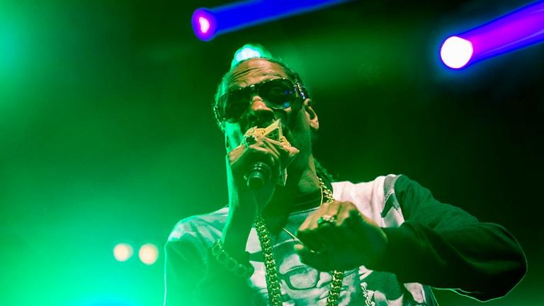 Rapparen Snoop Dogg uppträder i Stadsträdgården i Uppsala. Foto: Marcus Ericsson/TT