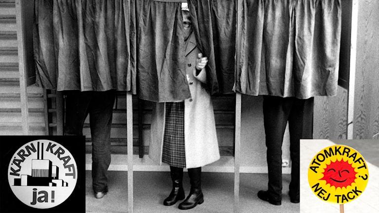 Fotomontage från omröstningen och sloganknappar för linje ett och linje tre. Foto: TT. Montage: Sveriges Radio