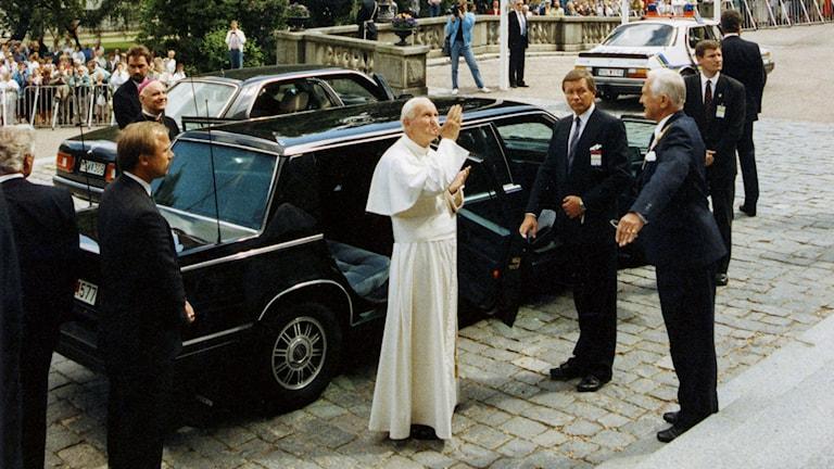 Johannes Paulus II på besök i Uppsala. Foto: Lars Hedberg/TT