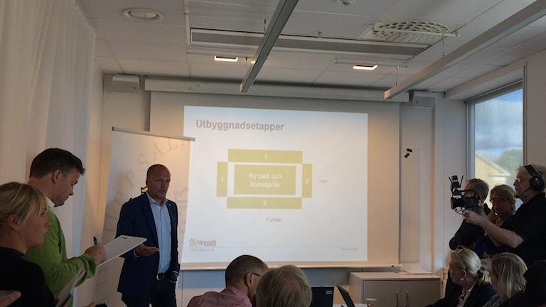 Presentation av den nya sportarenan i Uppsala. Foto: Stefan Hesserud-Persson/SR