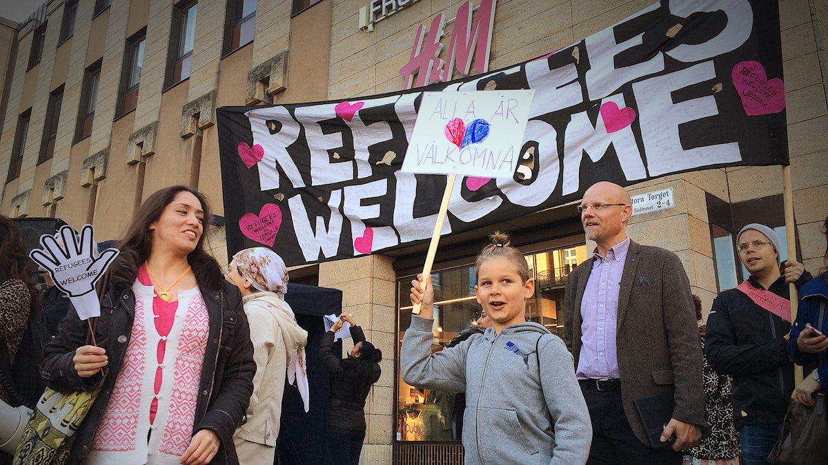 Refugees Welcome demonstration in Uppsala. Photo: Pablo Dalence/Sveriges Radio.