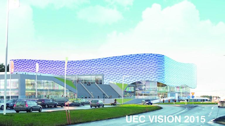 Så här kan arenan i Gränby komma att se ut. Illustration: Sweco Architects