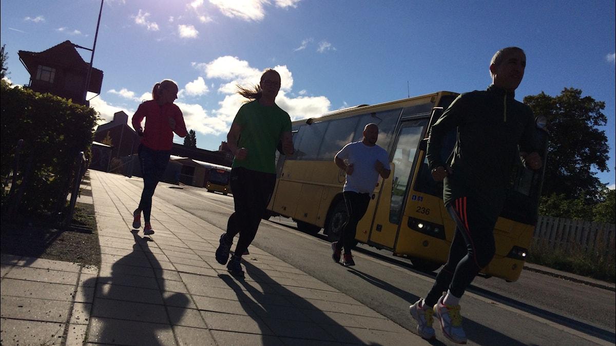 Linda, Matilda, Fredric och Abbas. Foto: Stefan Hesserud Persson / Sveriges radio