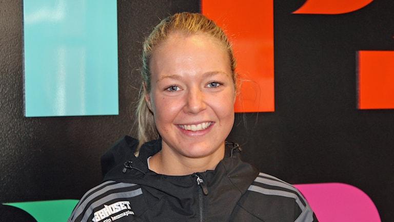 Amanda Delgado Johansson, innebandyspelare i FBC Uppsala. Foto: Erik Thyselius/Sveriges Radio