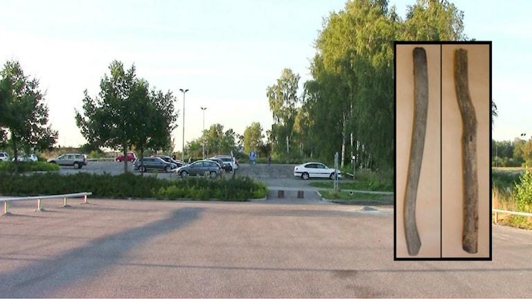 Här misshandlades 51-åringen. Två träpåkar som polisen hittade (infällda). Bilder från polisen, montage av Sveriges Radio.