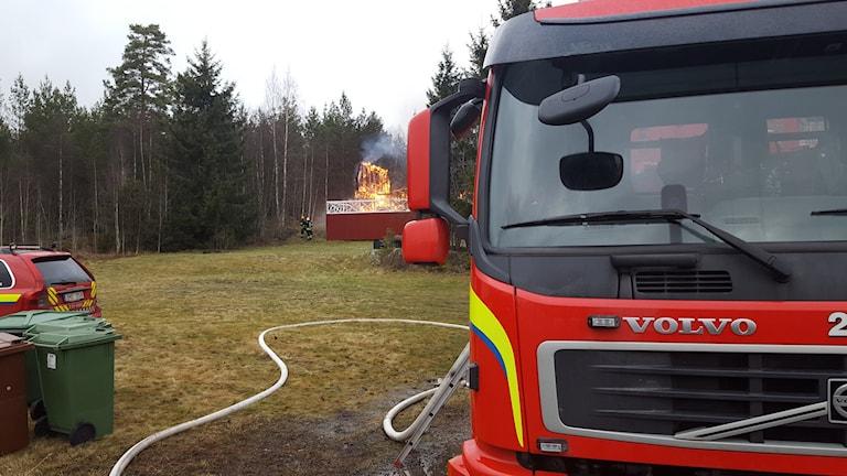 Brand i HVB-hem. Foto: Mattias Persson/Sveriges Radio