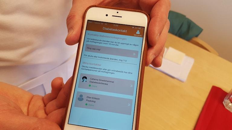 Så här ser beta-versionen av appen ut. Foto: Mattias Persson/Sveriges Radio