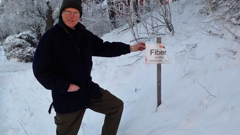 Hans Åke Eklund, fibernätseldsjäl i Vendel. Foto: Ulla de Verdier/Sveriges Radio