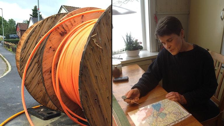 Till höger Camilla Strandman, fibernätsutbyggnadssamordnare i Östhammar. Foto och montage: Sveriges Radio
