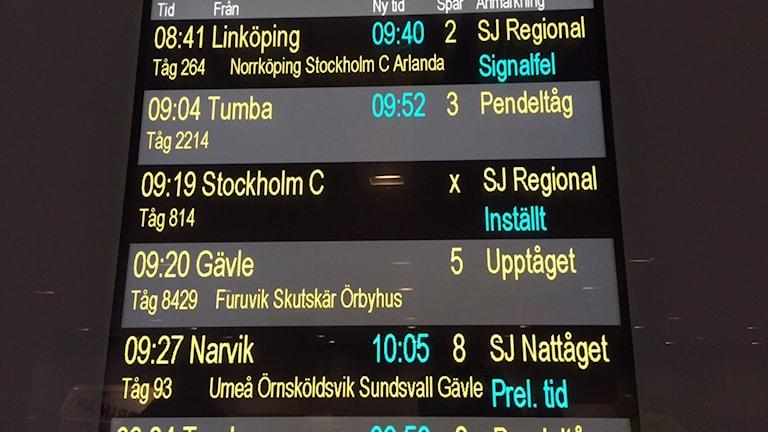 Många inställda avgångar och förseningar. Foto: Niklas Clarksson / SR
