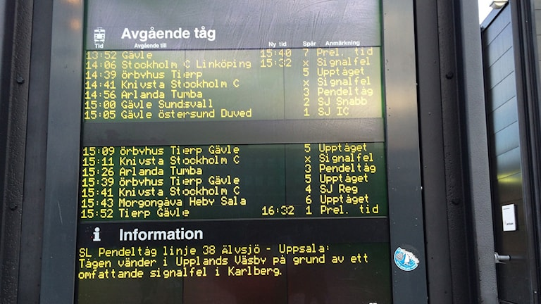 Många inställda avgångar och förseningar. Foto: Aila Stefandotter-Franck / SR