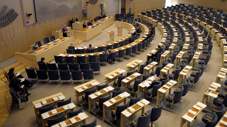 Bild från en debatt i Sveriges riksdag. Foto Fredrik Sandberg/TT