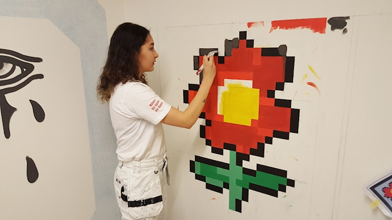 Larua Silva Mänty - SM-finalist i måleri från Uppsala. Foto: Mattias Persson/Sveriges Radio