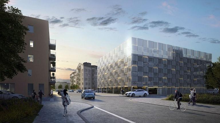 Förslaget på hur parkeringshuset vid Råbyvägen skulle se ut, vy från Thunmansgatan. Illustration av Stena Fastigheter.