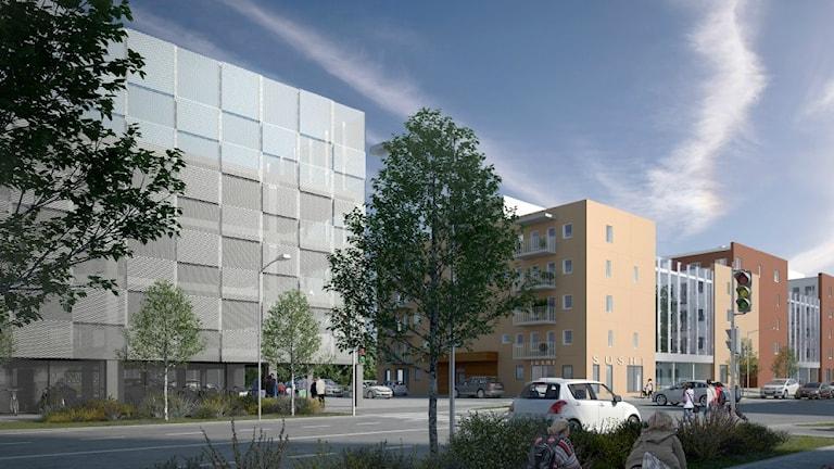 Så skulle parkeringshuset se ut från Råbyvägen. Illustration av Stena Fastigheter.