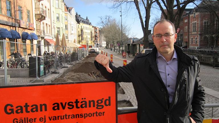 Centerpartisten Stefan Hanna Östra Ågatan i Uppsala där omläggning sker.