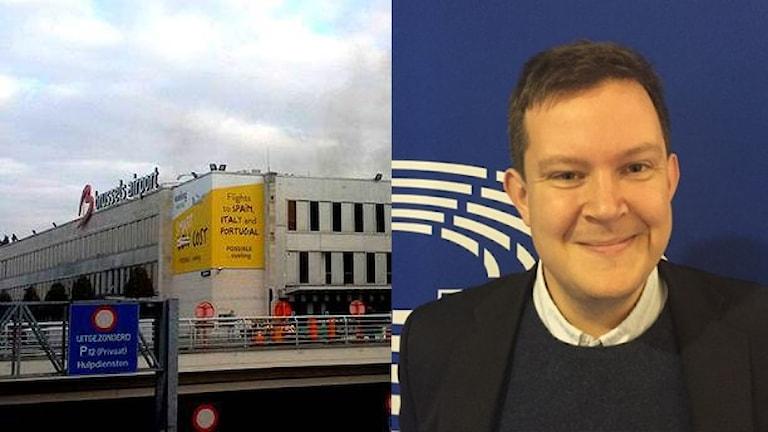 Till vänster Bryssels flygplats, till höger Daniel Sjöberg. Foto: TT/EU-parlamentet