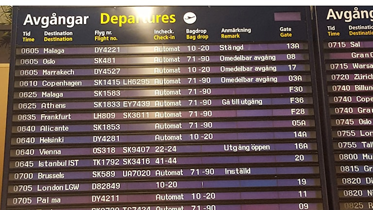 Inställt flyg mot Bryssel.