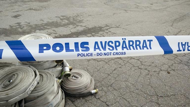 Polis avspärrat mordbrand