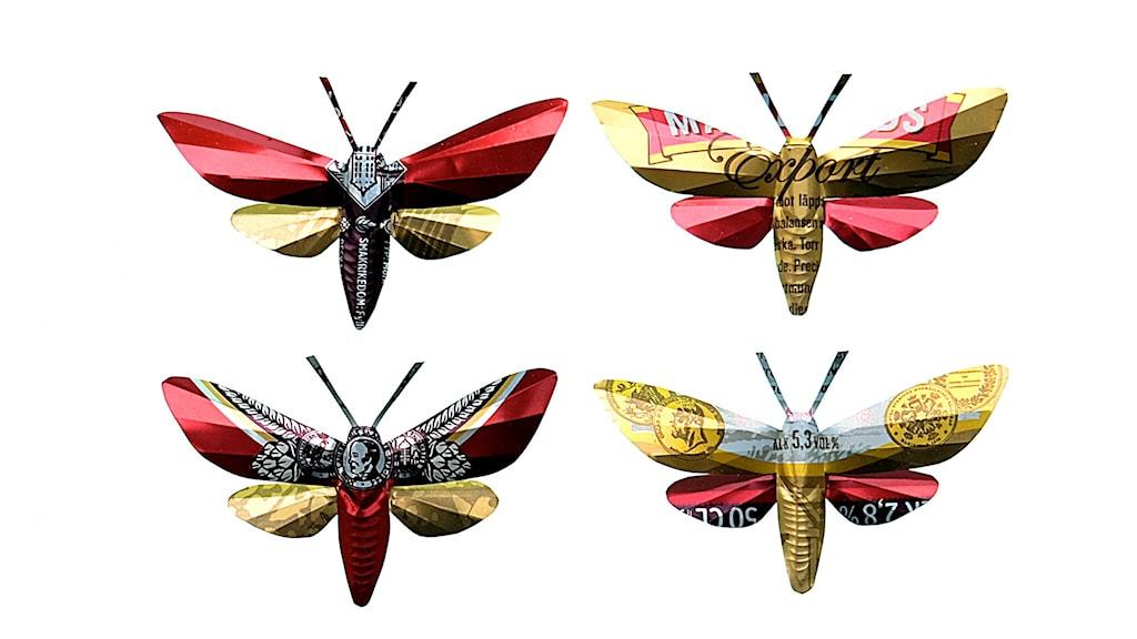 Uppsalakonstnären Elisabet Bergs verk Ölflyn, fjärilar gjorda av plåtburkar