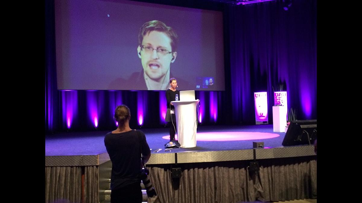 Edward Snowden medverkar på Grävseminariet 2016. Foto: SR