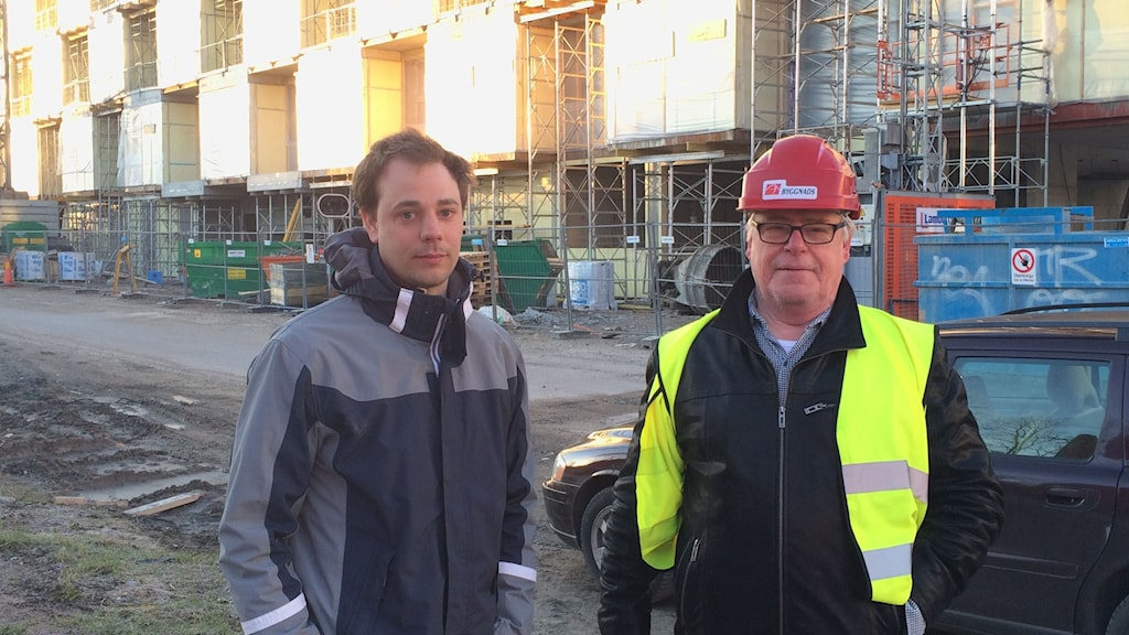 Lagbas Per Wiberg och Jan Andersson, ordförande för byggnads i Mälardalen. Foto: Mona Wahlund/SR