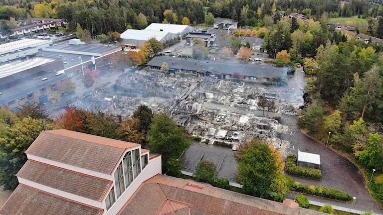 Förödelsen efter branden på Gottsundaskolan