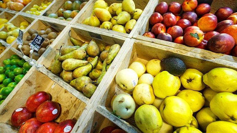 En fruktdisk med äpplen, päron och citrusfrukter. Foto: Kallestad, Gorm/NTB scanpix.