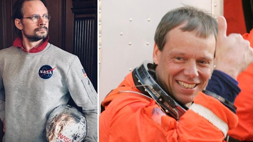 En splitbild med på ena sidan Johan Belzenstierna von Egeström i en NASA-tröja och hemmagjord rymdhjälm och på den andra Christer Fuglesang som gör tummen upp i en faktisk rymddräkt.