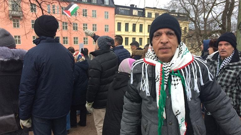 Hussein var en av deltagarna under demonstrationen i Uppsala.