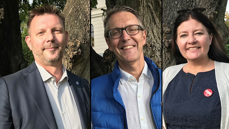 Ingvar Smedlund (M), Anders Wikman (NE) och Helena Proos (S) i Enköpings kommun.