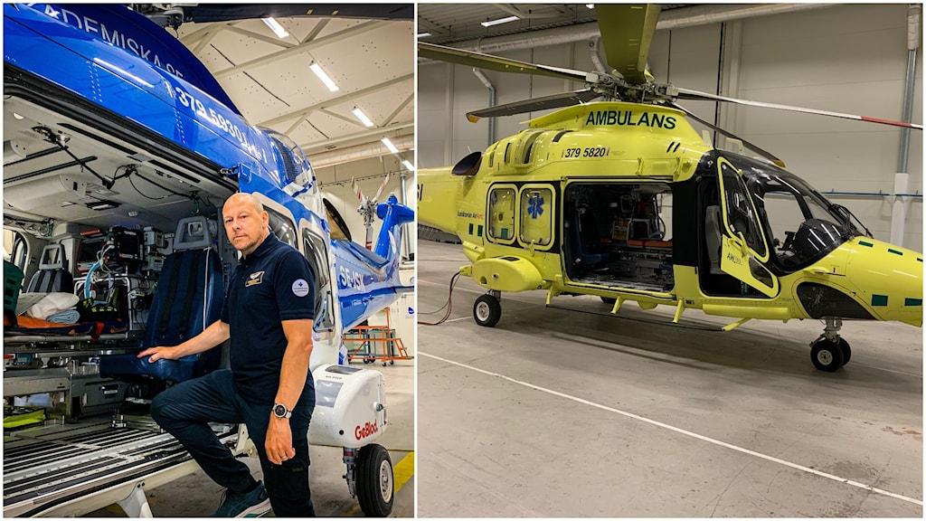 Till vänster bild på Per Bondegård som står med ena foten på en helikopter. Till höger en bild av en helikopter.