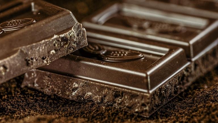 Chokladkaka i närbild.