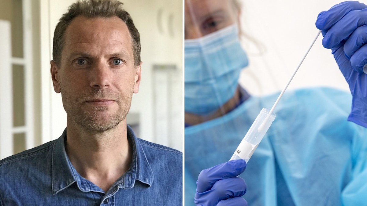 Fredrik Settergren, verksamhetsområdeschef, Region Uppsala, vård och hälsa. Till höger någon som stoppar en pinne i ett provrör.