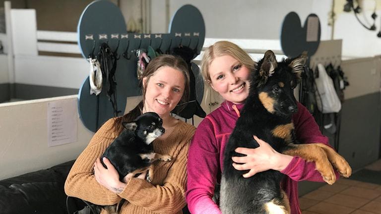 Sofia Dahlgren tillsammans med sin kollega på Uppsala hunddagis.