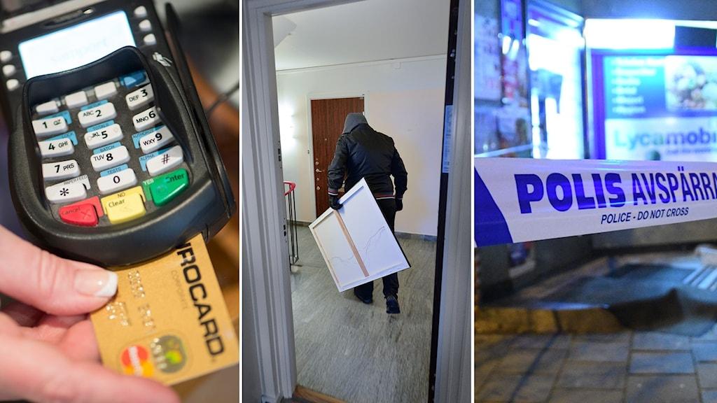 En bild delad i tre delar. Ett kortköp, ett inbrott och en polisavspärrning visas.