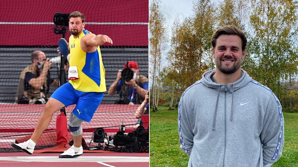 Till vänster: Simon Pettersson kastar diskus vid OS-finalen. Till höger: Simon Pettersson står utomhus och ler in i kameran, med träd i bakgrunden.