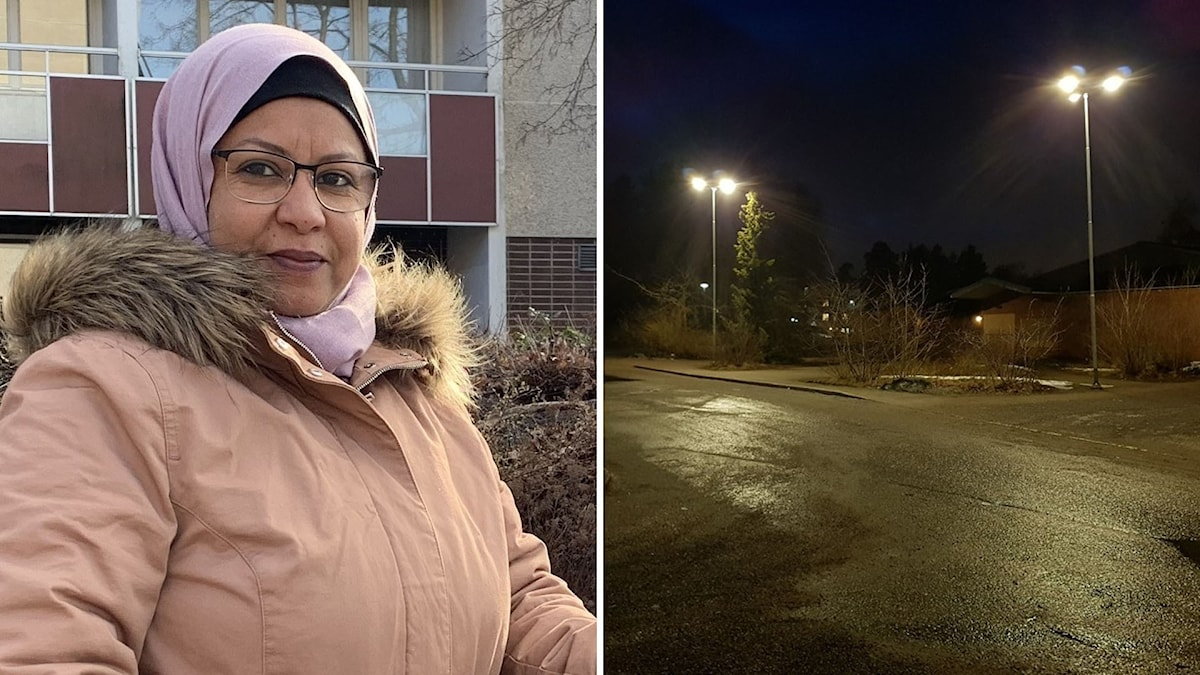 Diba Mohamed, en kvinna med beige jacka och slöja, på Bandstolsvägen. Till höger en bild på två gatlyktor som lyser upp en mörk gata.
