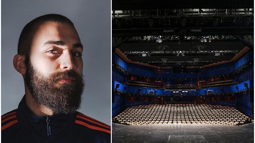 Till vänster, en person med kortklippt hår och skägg. Till höger en teaterscen.