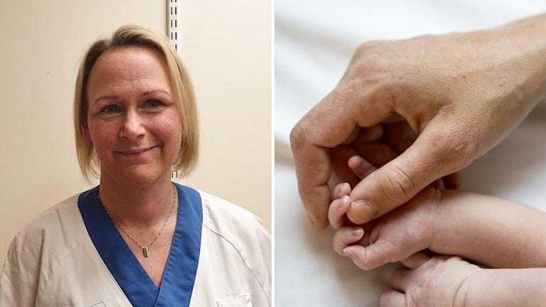 Blond kvinnlig barnmorska och en vuxen hand som håller en nyfödd bebis hand.
