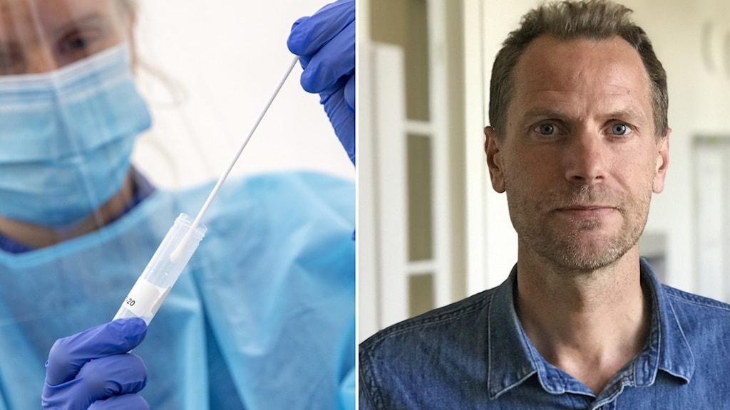 Till vänster: person med visir och munskydd som håller i provtagningsutrustning. Till höger: Fredrik Settergren, Region Uppsala.