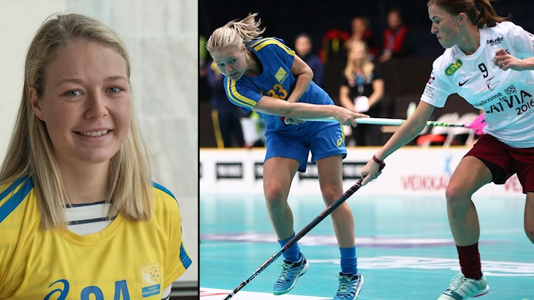 Sveriges Amanda Johansson Delgado under måndagens match i grupp B mellan Sverige och Lettland i damernas innebandy-VM i Finland 2015.