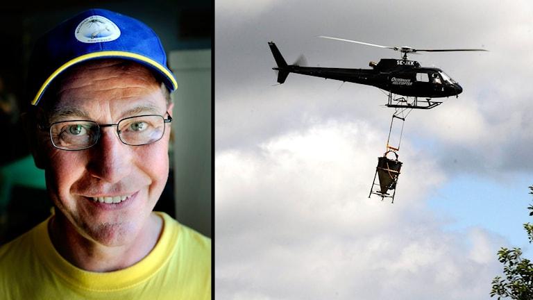 Jan Lundström och en helikopter
