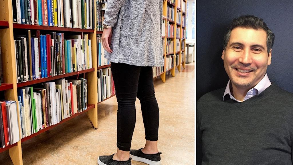 En kvinna står vid en bokhylla, till höger en bild på Mohammed Mekrami.